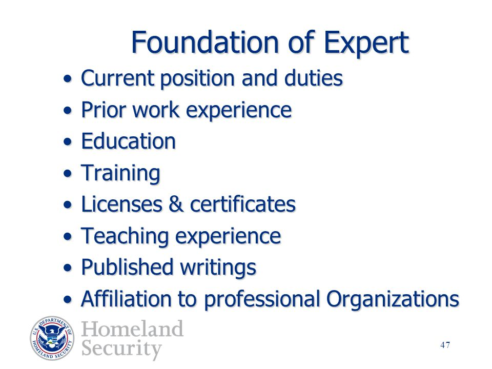 Foundation of Expert Current position and duties Prior work experience
