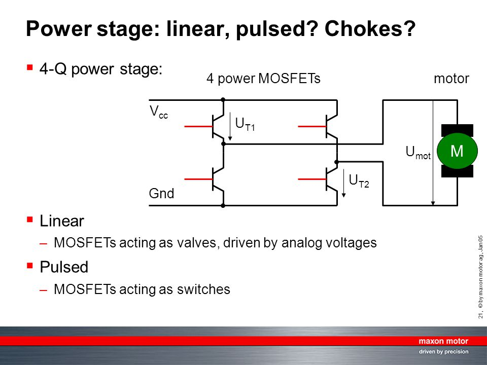 Power stage: linear, pulsed Chokes