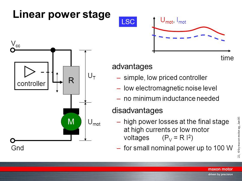 Linear power stage advantages R disadvantages M Umot, Imot LSC Vcc