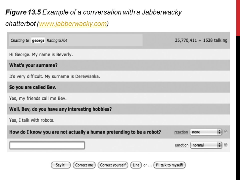 Figure 13.5 Example of a conversation with a Jabberwacky chatterbot (www.jabberwacky.com)