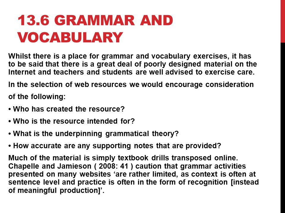 13.6 Grammar and vocabulary