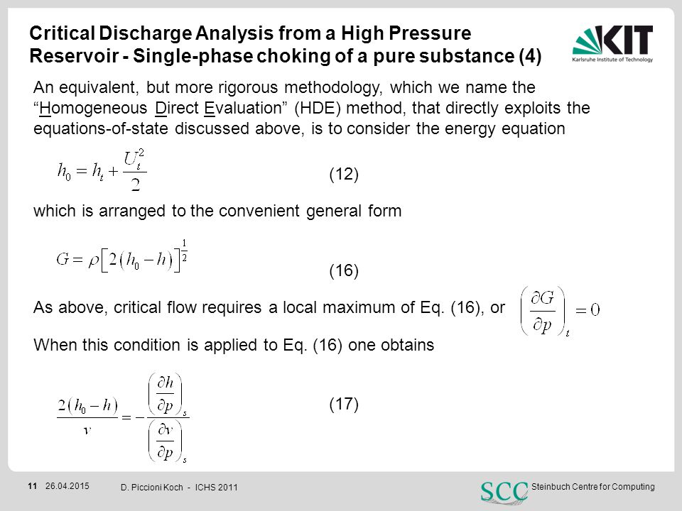 Critical Discharge Analysis from a High Pressure Reservoir - Single-phase choking of a pure substance (4)