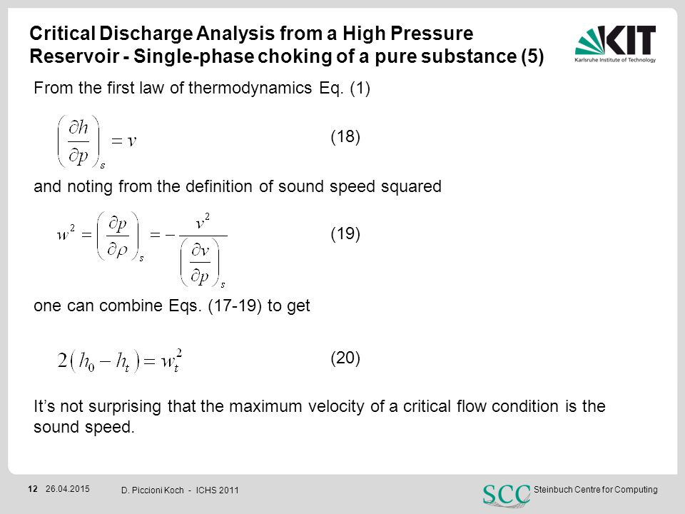 Critical Discharge Analysis from a High Pressure Reservoir - Single-phase choking of a pure substance (5)