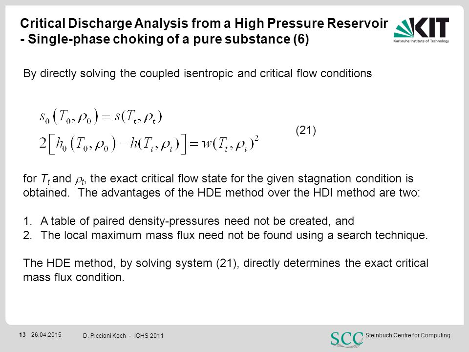 Critical Discharge Analysis from a High Pressure Reservoir - Single-phase choking of a pure substance (6)