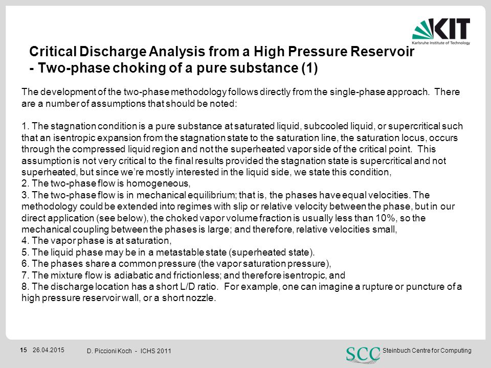 Critical Discharge Analysis from a High Pressure Reservoir - Two-phase choking of a pure substance (1)