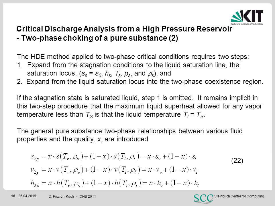 Critical Discharge Analysis from a High Pressure Reservoir - Two-phase choking of a pure substance (2)