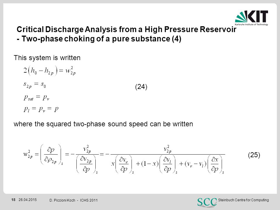 Critical Discharge Analysis from a High Pressure Reservoir - Two-phase choking of a pure substance (4)