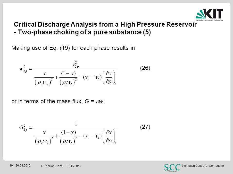 Critical Discharge Analysis from a High Pressure Reservoir - Two-phase choking of a pure substance (5)