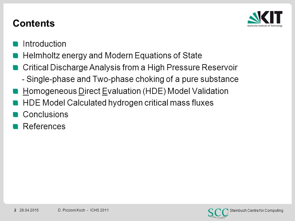 Contents Introduction Helmholtz energy and Modern Equations of State