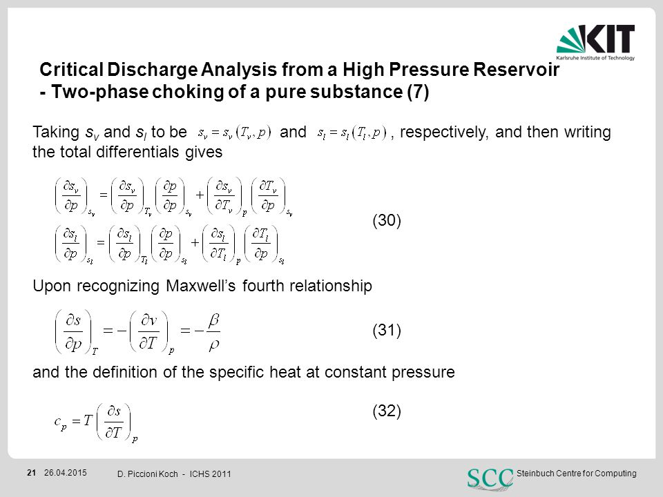 Critical Discharge Analysis from a High Pressure Reservoir - Two-phase choking of a pure substance (7)
