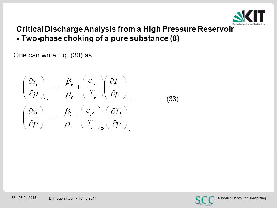 Critical Discharge Analysis from a High Pressure Reservoir - Two-phase choking of a pure substance (8)