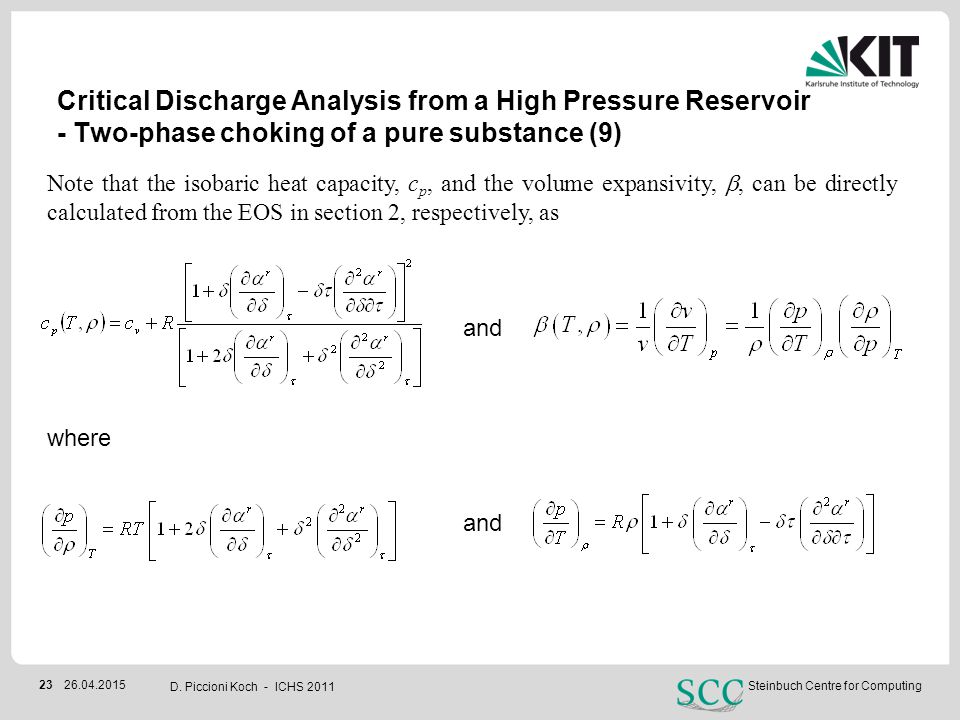 Critical Discharge Analysis from a High Pressure Reservoir - Two-phase choking of a pure substance (9)