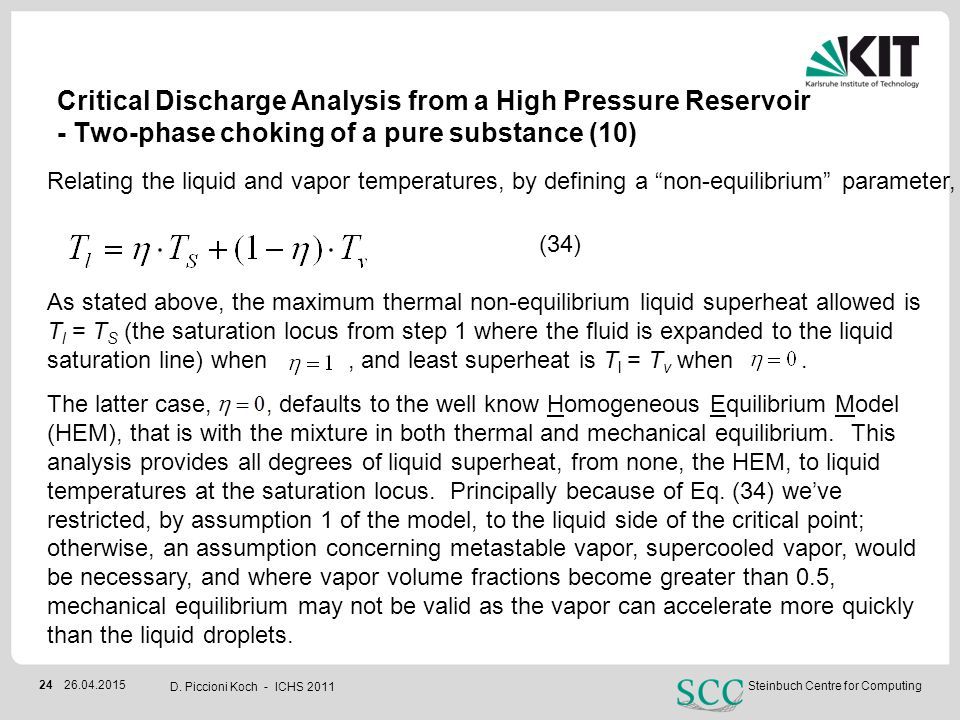 Critical Discharge Analysis from a High Pressure Reservoir - Two-phase choking of a pure substance (10)