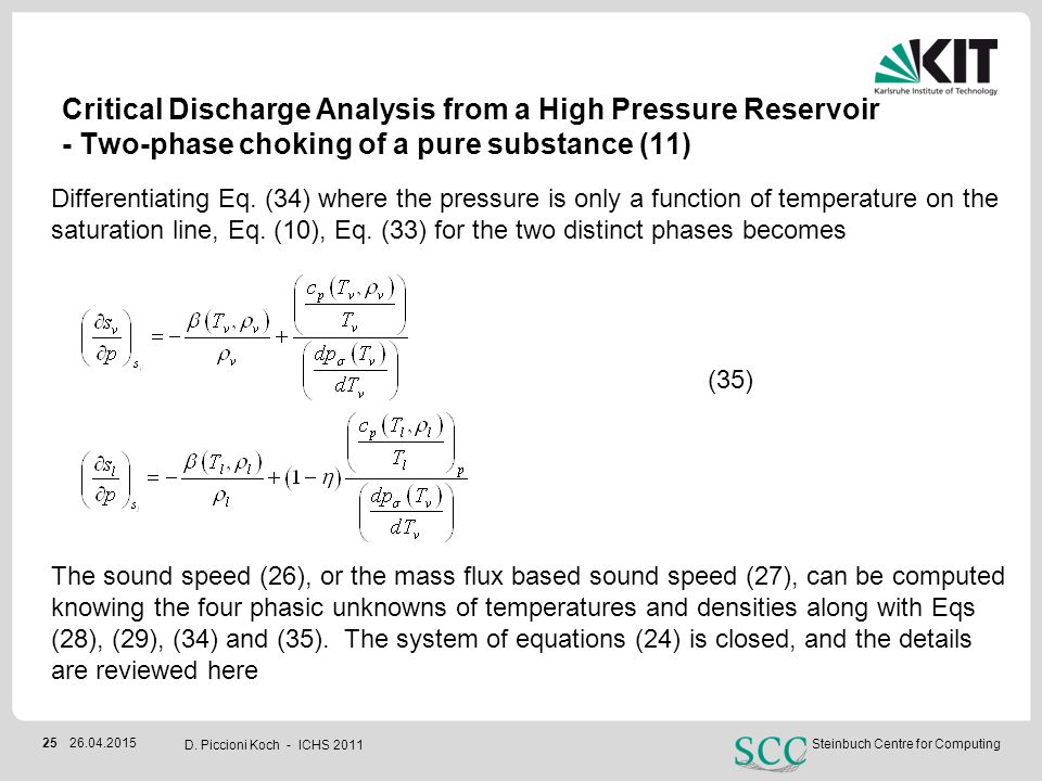 Critical Discharge Analysis from a High Pressure Reservoir - Two-phase choking of a pure substance (11)