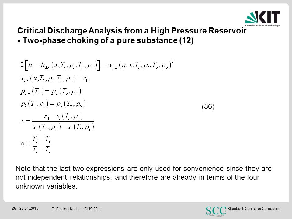 Critical Discharge Analysis from a High Pressure Reservoir - Two-phase choking of a pure substance (12)