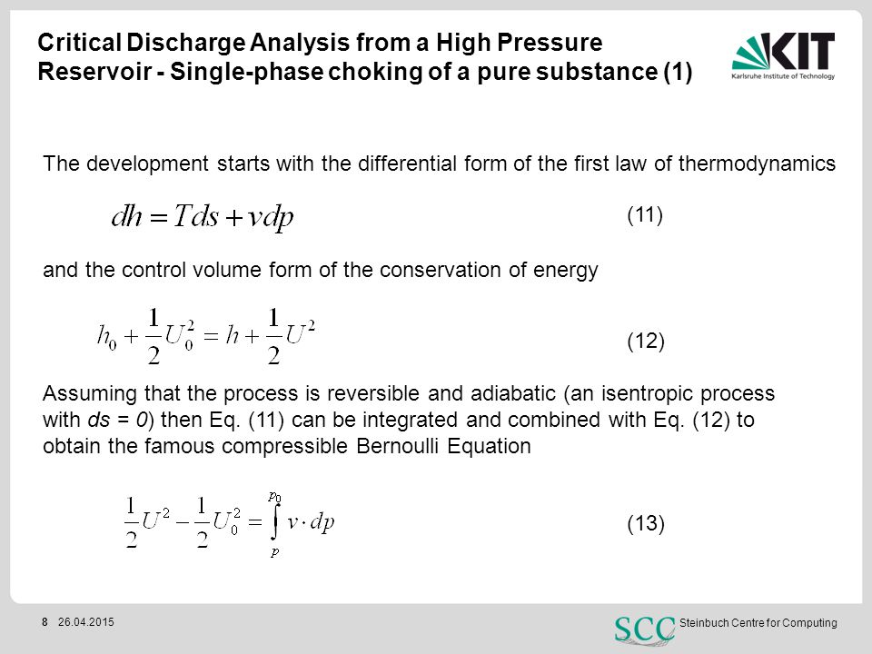 Critical Discharge Analysis from a High Pressure Reservoir - Single-phase choking of a pure substance (1)