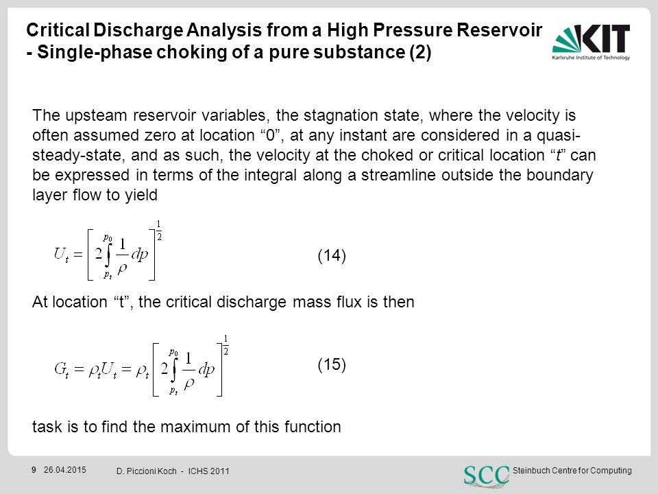 Critical Discharge Analysis from a High Pressure Reservoir - Single-phase choking of a pure substance (2)