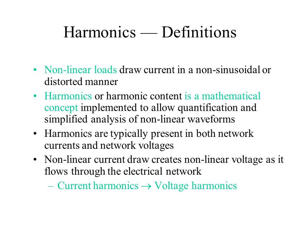 Harmonics — Definitions