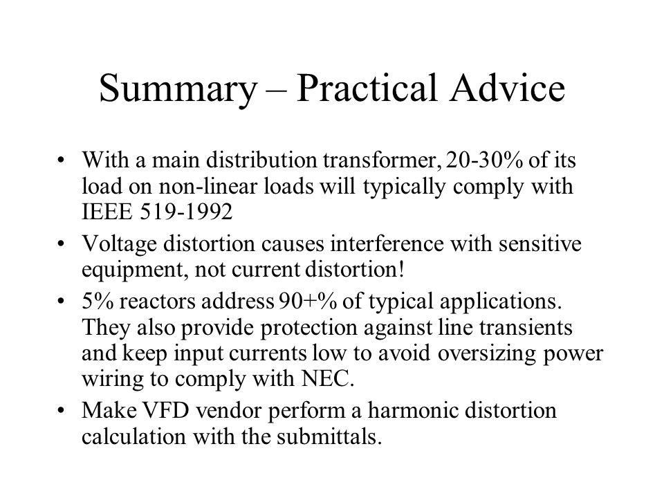 Summary – Practical Advice