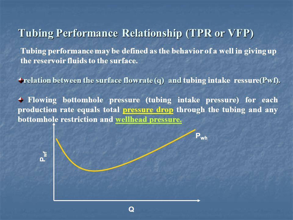 Tubing Performance Relationship (TPR or VFP)