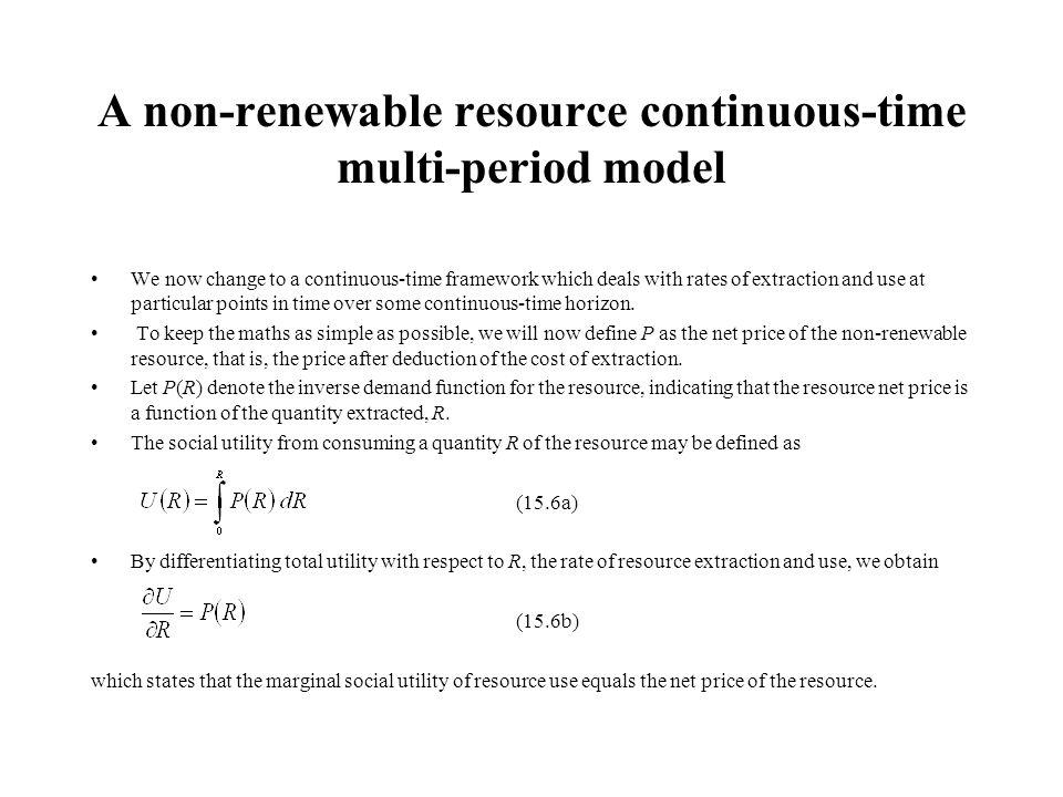 A non-renewable resource continuous-time multi-period model