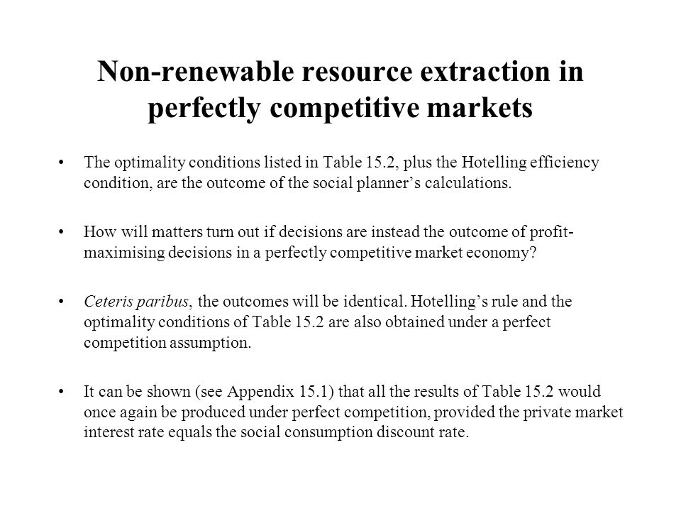 Non-renewable resource extraction in perfectly competitive markets