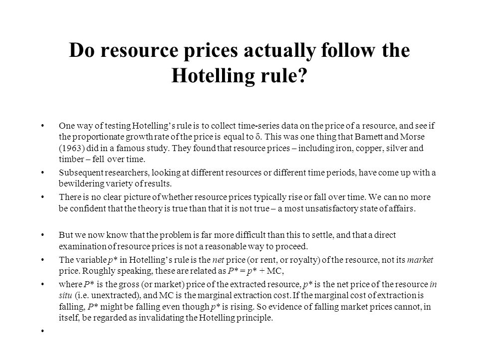 Do resource prices actually follow the Hotelling rule