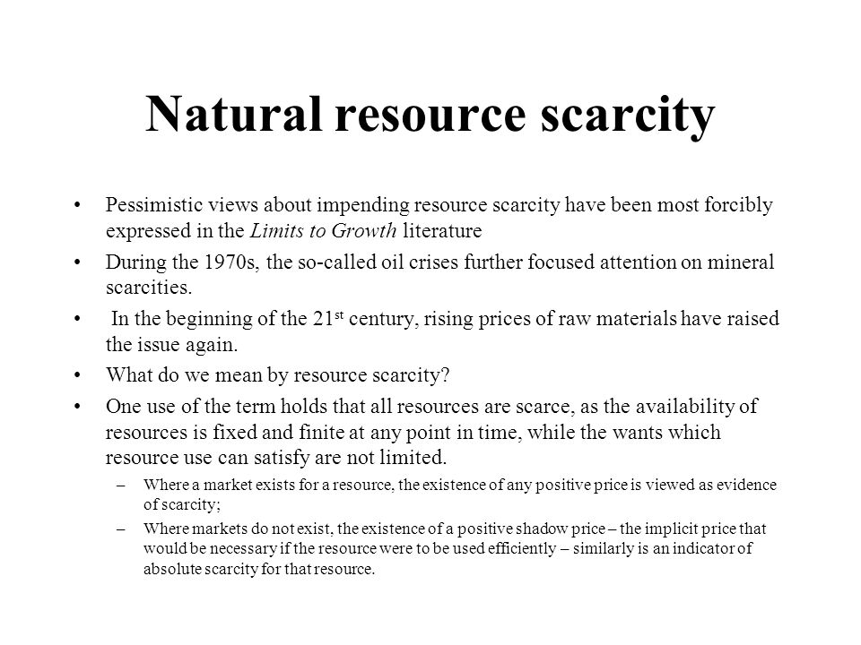 Natural resource scarcity