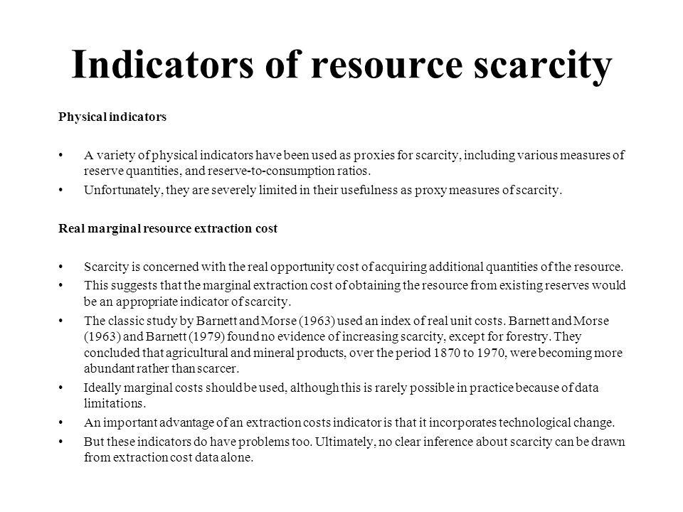 Indicators of resource scarcity