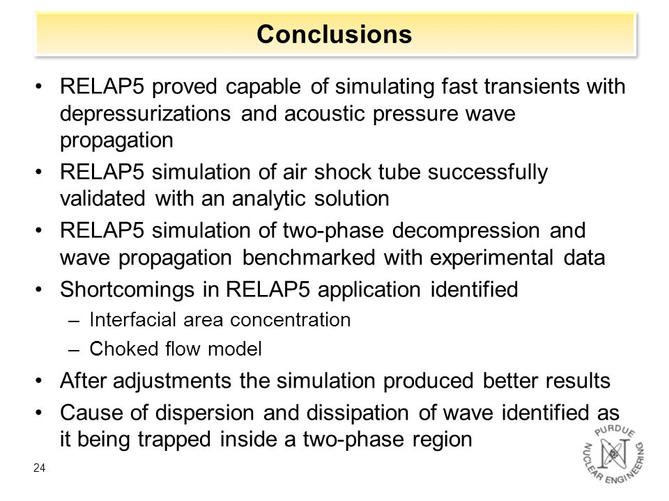 Conclusions RELAP5 proved capable of simulating fast transients with depressurizations and acoustic pressure wave propagation.