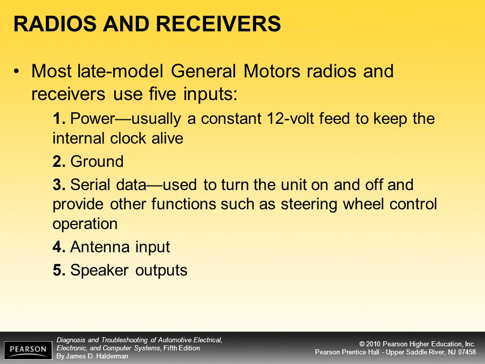 RADIOS AND RECEIVERS Most late-model General Motors radios and receivers use five inputs:
