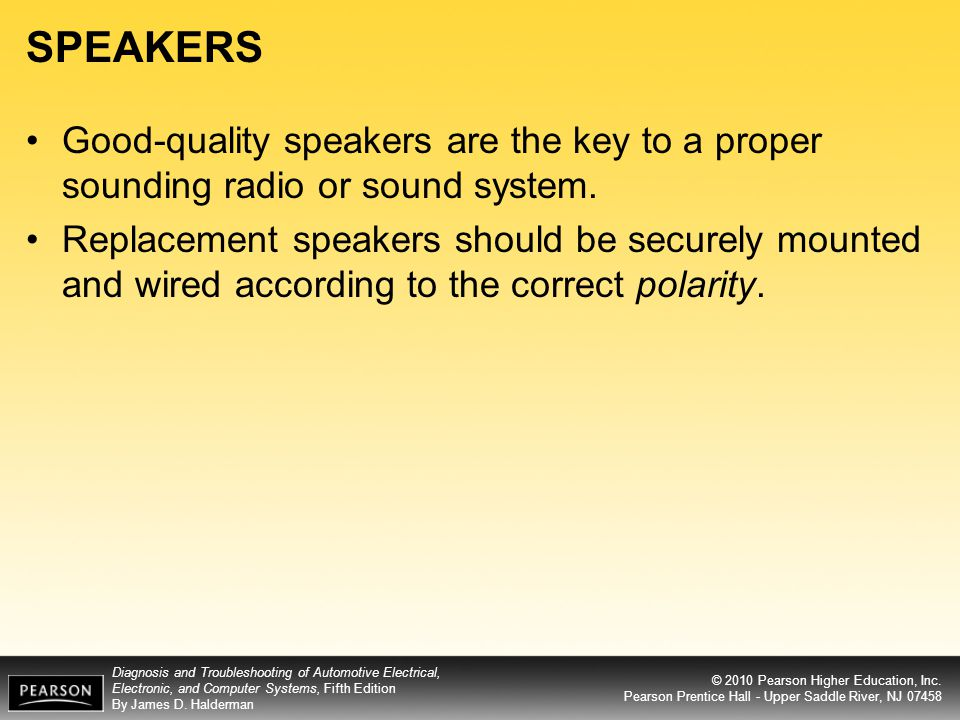 SPEAKERS Good-quality speakers are the key to a proper sounding radio or sound system.