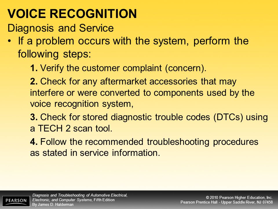 VOICE RECOGNITION Diagnosis and Service