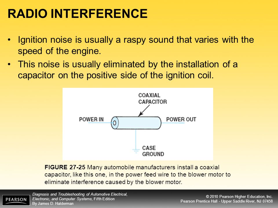 RADIO INTERFERENCE Ignition noise is usually a raspy sound that varies with the speed of the engine.