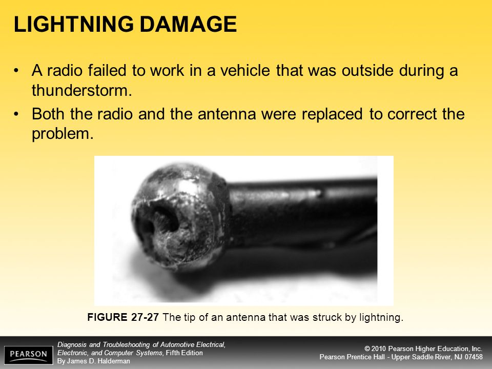 LIGHTNING DAMAGE A radio failed to work in a vehicle that was outside during a thunderstorm.