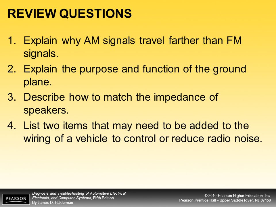 REVIEW QUESTIONS Explain why AM signals travel farther than FM signals. Explain the purpose and function of the ground plane.
