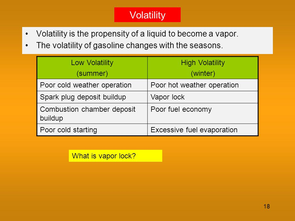Volatility Volatility is the propensity of a liquid to become a vapor.