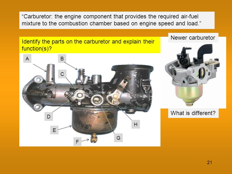 carburetor parts and their functions pdf