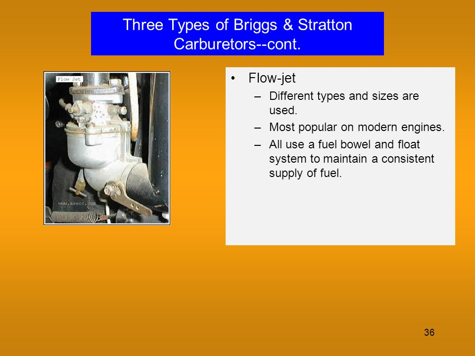 Three Types of Briggs & Stratton Carburetors--cont.