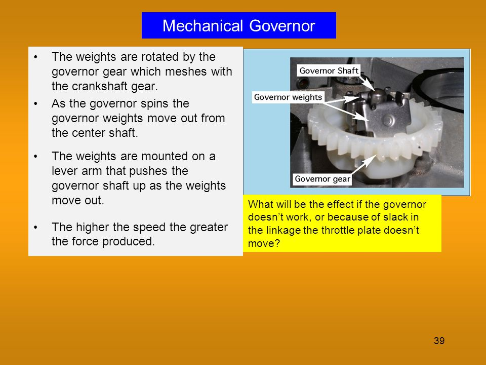 Mechanical Governor The weights are rotated by the governor gear which meshes with the crankshaft gear.