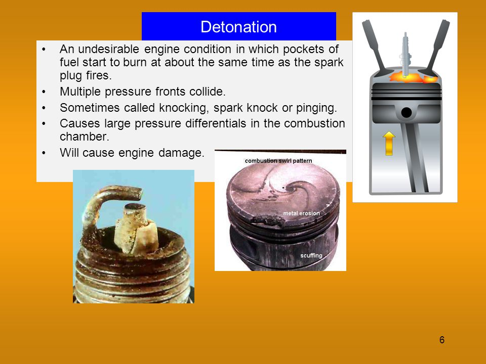 Detonation An undesirable engine condition in which pockets of fuel start to burn at about the same time as the spark plug fires.