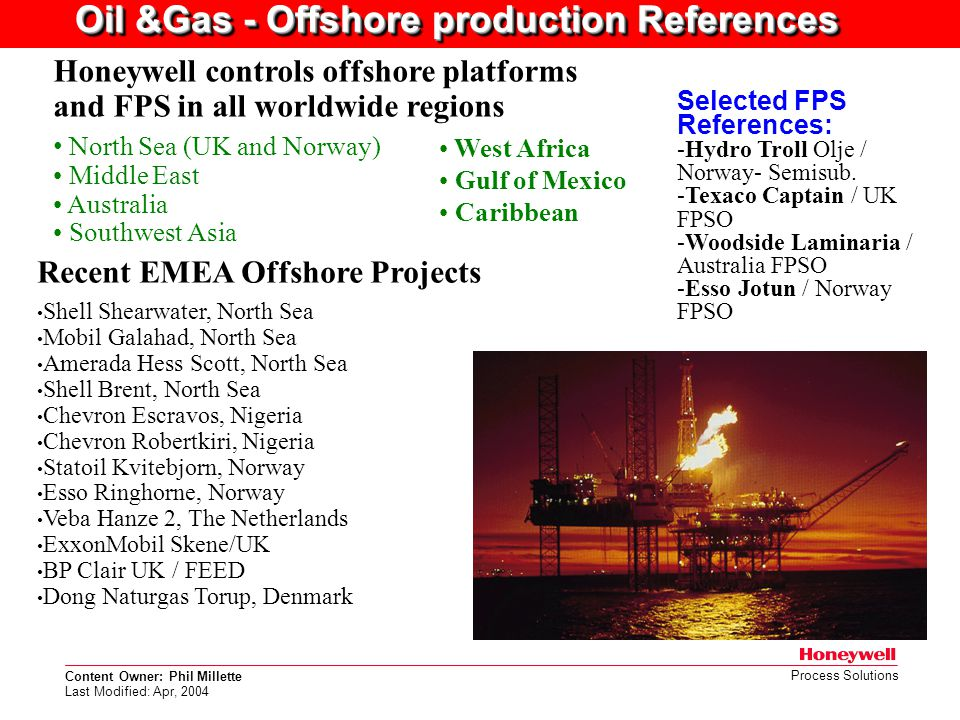 Oil &Gas - Offshore production References
