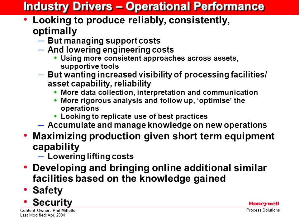 Industry Drivers – Operational Performance