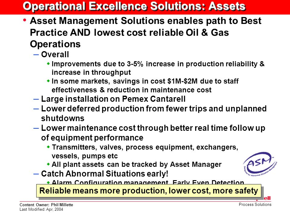 Operational Excellence Solutions: Assets