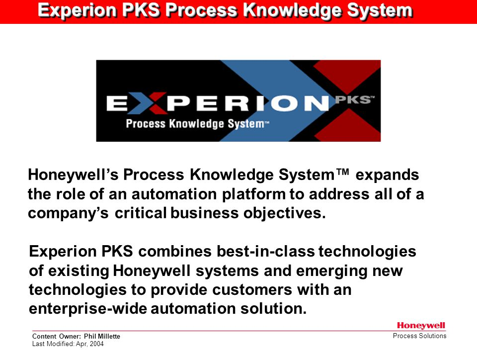 Experion PKS Process Knowledge System