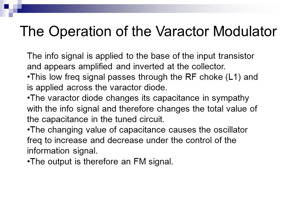 The Operation of the Varactor Modulator