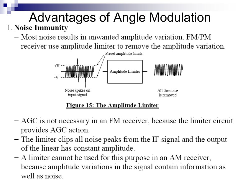 Advantages of Angle Modulation