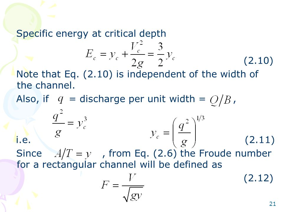 Specific energy at critical depth
