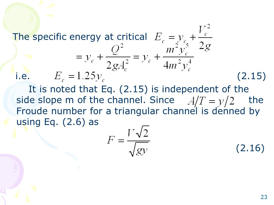 The specific energy at critical