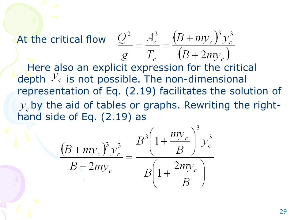 At the critical flow